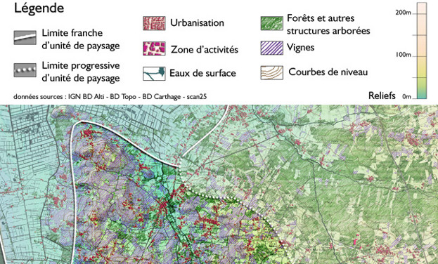 Extrait de la carte d'occupation des paysages du Blayais