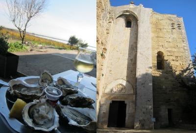 huîtres arrosé de blanc du Languedoc à l'ombre de la cathédrale de Villeneuve-lès-Maguelone