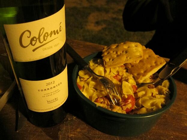 Le dîner du mochilero à peine exigeant! Torrontes - Tortitas y Pasta-Verduras